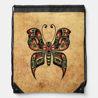 Aged Red and Green Haida Spirit Butterfly Rucksacks