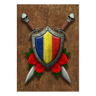 Aged Romanian Flag Shield and Swords with Roses Business Card