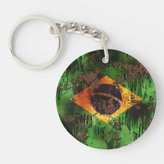 Aged Rusted Brazil Flag Key Ring