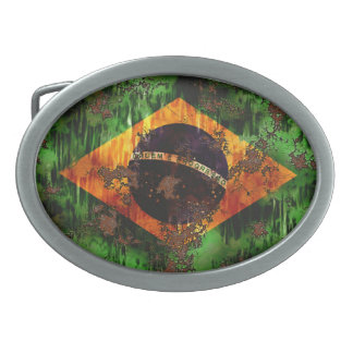 Aged Rusted Brazil Flag Oval Belt Buckles