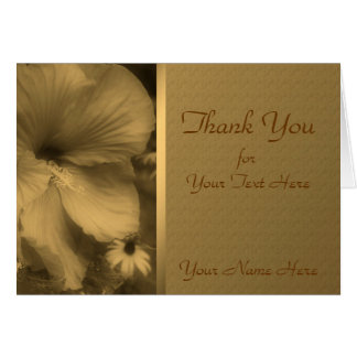 Aged Sepia Hibiscus Flower Nature Thank You Card