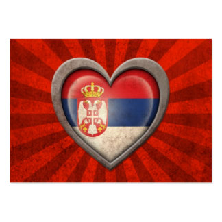 Aged Serbian Flag Heart with Light Rays Pack Of Chubby Business Cards