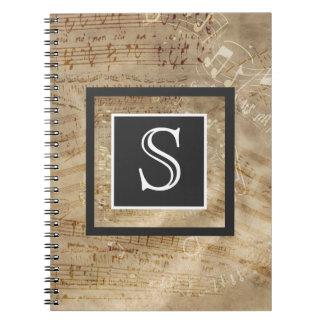 Aged Sheet Music Paper Monogram Notebooks
