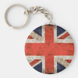 Aged shredded Union Jack Basic Round Button Key Ring