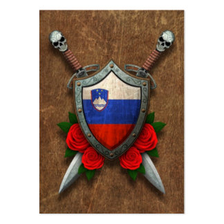 Aged Slovenian Flag Shield and Swords with Roses Pack Of Chubby Business Cards
