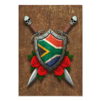 Aged South African Flag Shield and Swords with Ros Custom Invitations