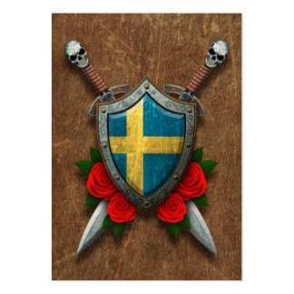 Aged Swedish Flag Shield and Swords with Roses Pack Of Chubby Business Cards