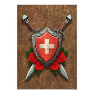 Aged Swiss Flag Shield and Swords with Roses Personalized Announcement