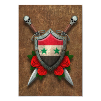 Aged Syrian Flag Shield and Swords with Roses Personalized Invitations