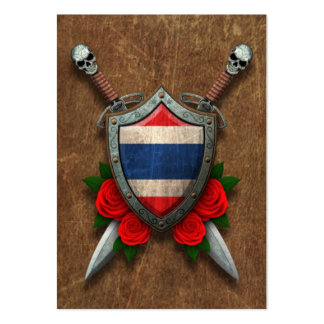 Aged Thai Flag Shield and Swords with Roses Large Business Cards (Pack Of 100)