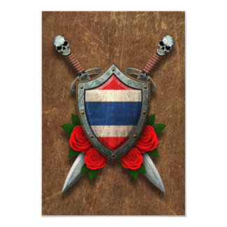 Aged Thai Flag Shield and Swords with Roses Invitation