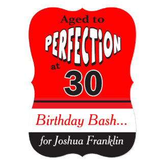 Aged to Perfection at 30   30th Birthday 5x7 Paper Invitation Card