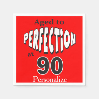 Aged to Perfection at 90 | 90th Birthday Paper Napkin