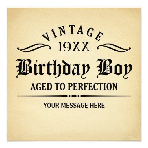 Aged to Perfection Funny Birthday Personalized Invite
