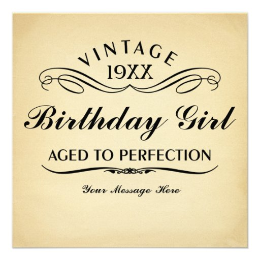 Aged to Perfection Funny Birthday Custom Invitation