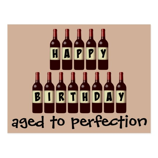 Aged to Perfection Wine Lover Happy Birthday Postcard