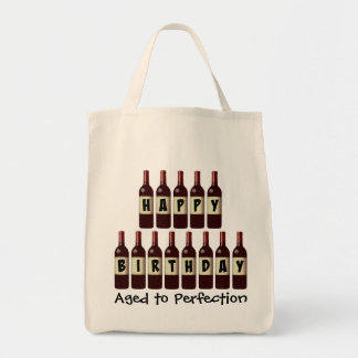 Aged to Perfection Wine Lover Happy Birthday Tote Bag