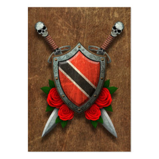 Aged Trinidad and Tobago Flag Shield and Swords Pack Of Chubby Business Cards