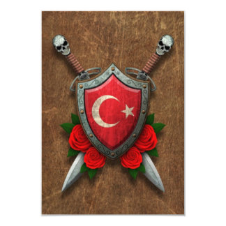 Aged Turkish Flag Shield and Swords with Roses Custom Invites