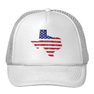 AGED US FLAG TEXAS MESH HAT