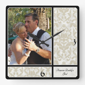 Aged Vintage Damask Pattern Wedding Photograph Clock