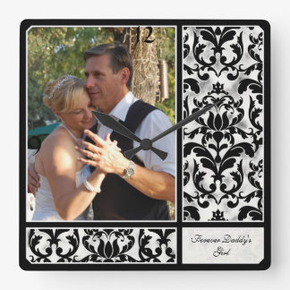 Aged Vintage Damask Pattern Wedding Photograph Square Wall Clock