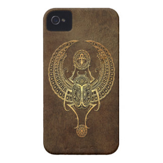 Aged Winged Egyptian Scarab Beetle with Ankh Brown Case-Mate iPhone 4 Cases