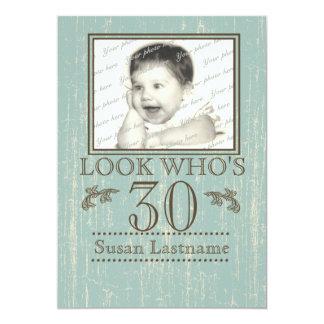 Aged Wood 30th Birthday Photo 13 Cm X 18 Cm Invitation Card