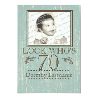 Aged Wood 70th Birthday Photo Card