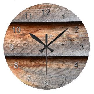 Aged Wood Large Clock