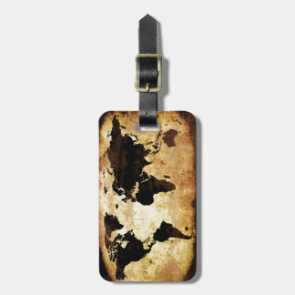 aged-world-map luggage tag
