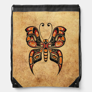 Aged Yellow and Red Haida Spirit Butterfly Drawstring Backpack