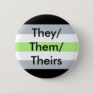 Agender Flag They/Them/Theirs Button