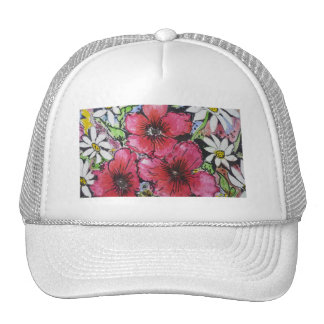 Aggelikis Pink Flowers & Daisies Design Trucker Hat