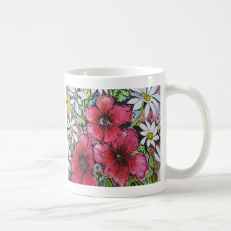 Aggelikis Pink Flowers & Daisies Design Mugs