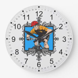 Aggressive Biking Large Clock