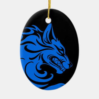 Aggressive Blue and Black Tribal Wolf Ceramic Oval Decoration