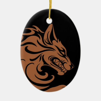 Aggressive Brown and Black Tribal Wolf Ceramic Oval Decoration