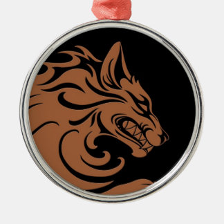 Aggressive Brown and Black Tribal Wolf Silver-Colored Round Decoration