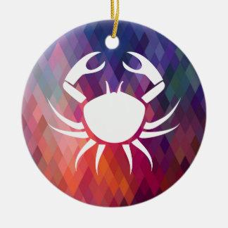 Aggressive Crabs Pictogram Round Ceramic Decoration