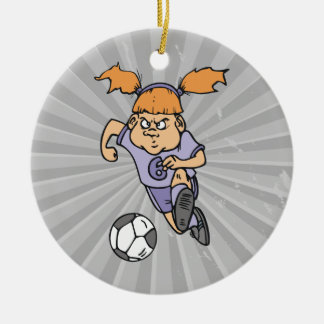aggressive girl soccer player graphic christmas tree ornament