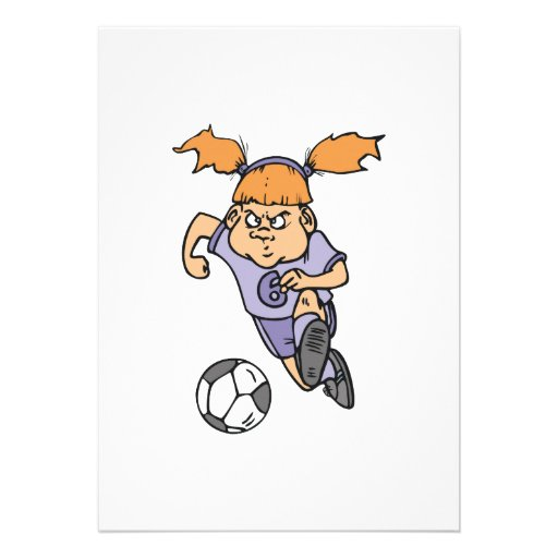 aggressive girl soccer player graphic personalized announcements