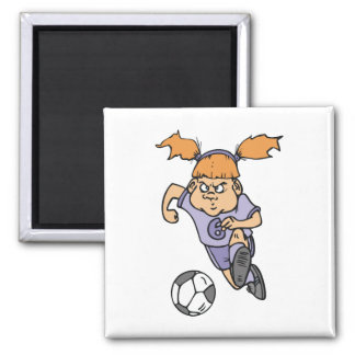 aggressive girl soccer player graphic magnet