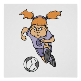 aggressive girl soccer player graphic poster
