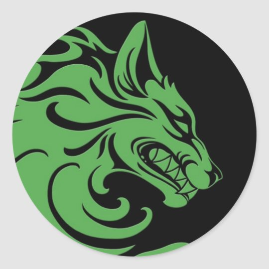 Aggressive Green and Black Tribal Wolf Classic Round