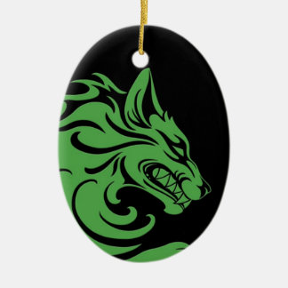 Aggressive Green and Black Tribal Wolf Ornaments