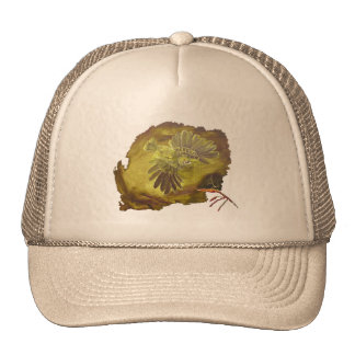 """""""Aggressive Green Parrot"""" Hat Trucker Hats"""