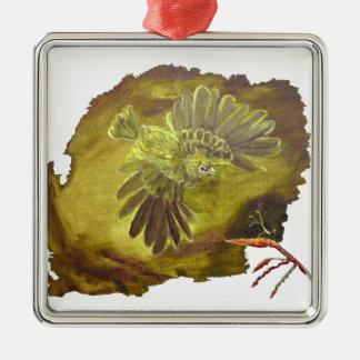 """Aggressive Green Parrot"" Premium Square Ornament Christmas Ornaments"