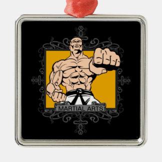 Aggressive Martial Arts Silver-Colored Square Decoration