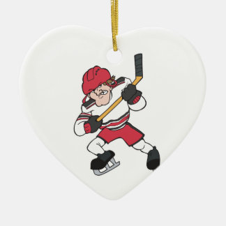 aggressive mean ice hockey player graphic christmas ornament